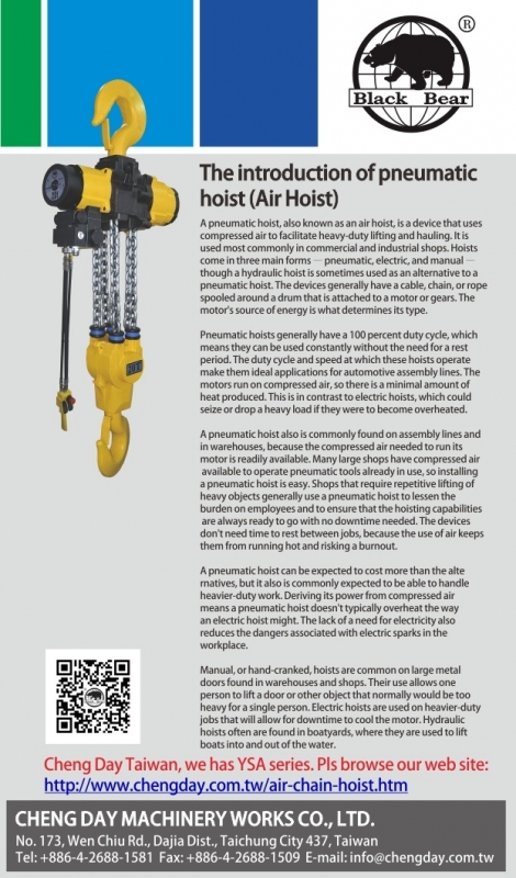 The Introduction of Pneumatic Hoist (Air Hoist)