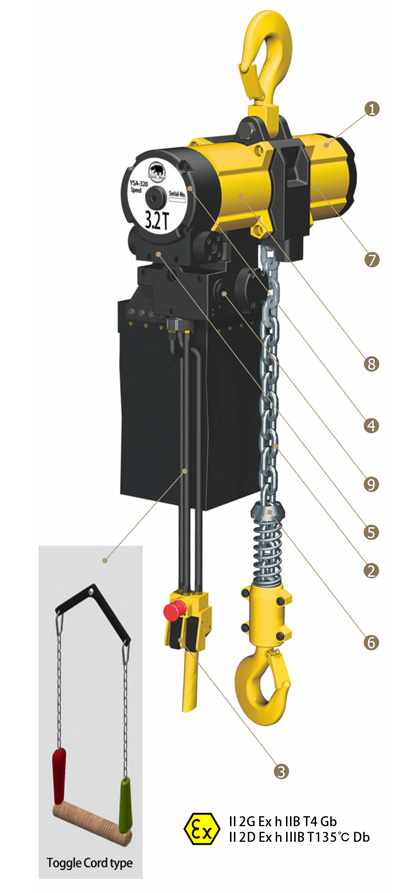 YSA-1000 Pneumatic Air Chain Hoist, Air Hoist
