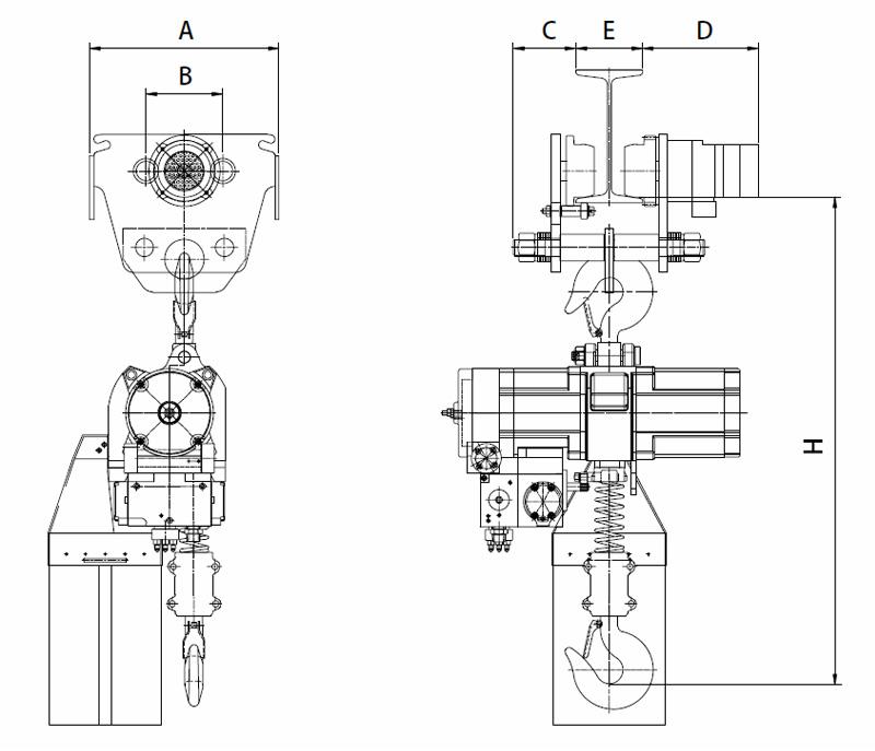 YSA-025~200 Air Chain Hoist, Pneumatic Hoist
