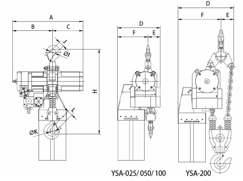 YSA-025~YSA-200 Air Chain Hoist, Air Hoist