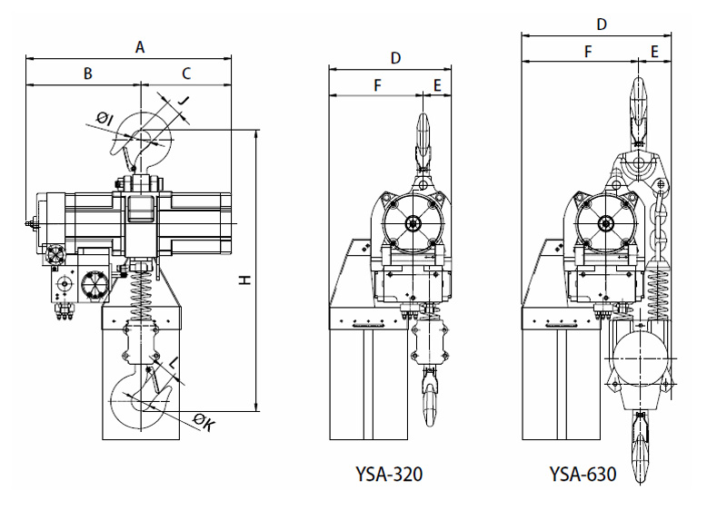 YSA-320~YSA-630 Air Chain Hoist, Air Hoist