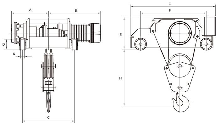 亞規電動鋼索吊車(DC剎車)