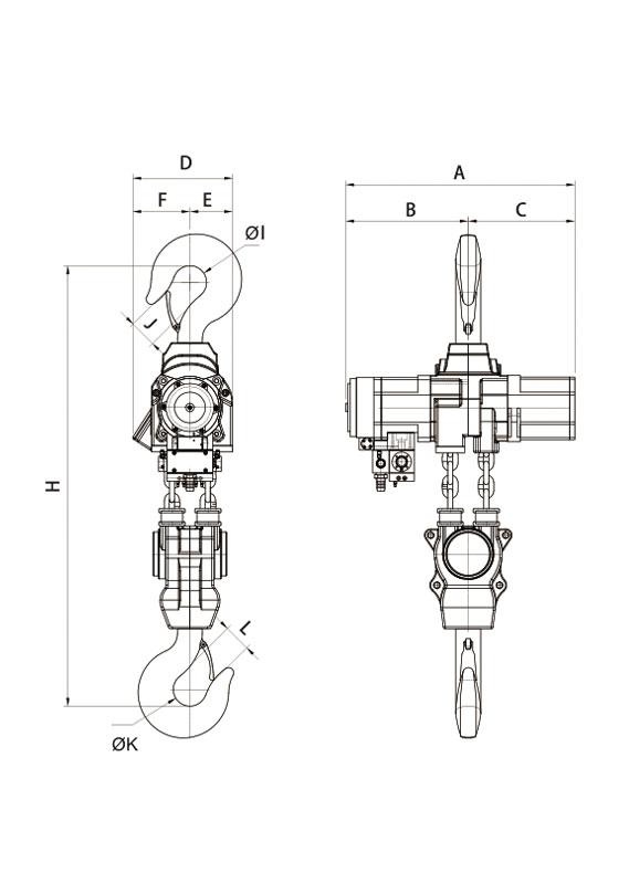 YSA-2500~YSA-5000 系列 第二代氣動鏈條吊車